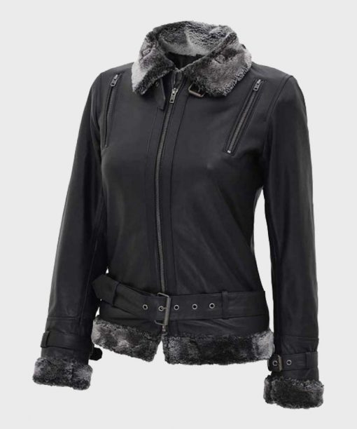 Black Belted Womens Shearling Jacket