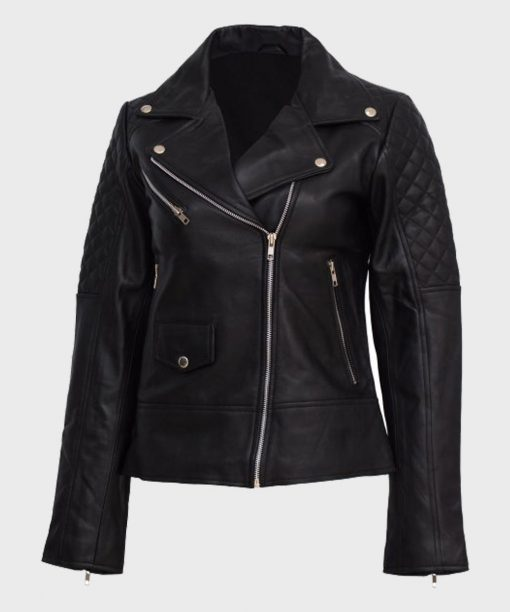 Womens Quilted Shoulder Black Motorcycle Leather Jacket