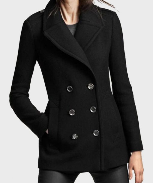 Womens Double-Breasted Black Coat