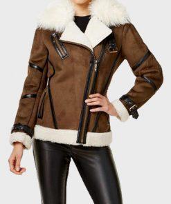 Women's Asymmetrical Faux Fur Shearling Leather Jacket