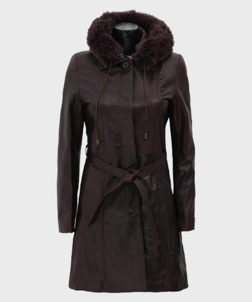 Dark Brown Fur Hooded Leather Coat for Women's