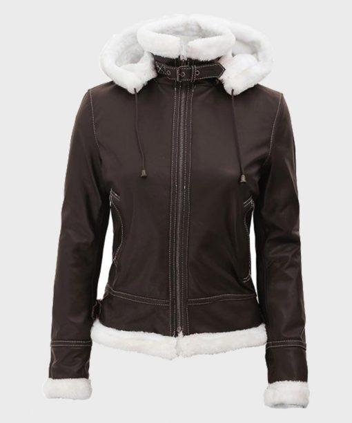 Dark Brown Fur Lined Womens Shearling Jacket