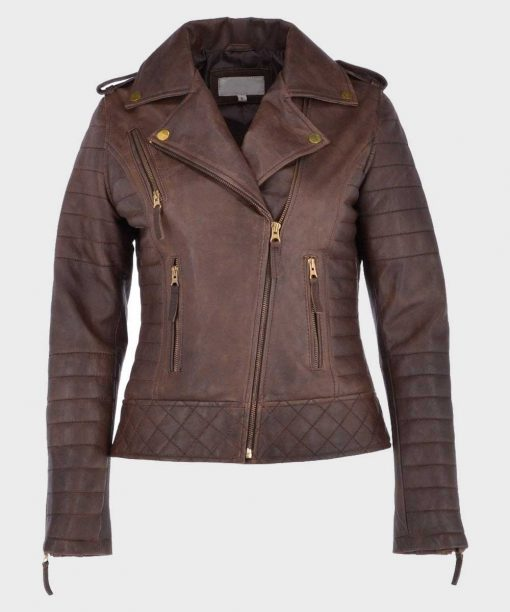 Brown Distressed Womens Leather Motorcycle Jacket
