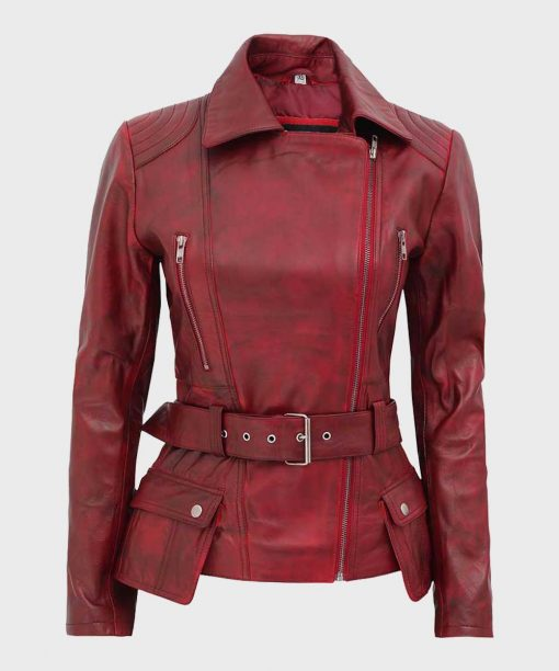 Womens Maroon Motorcycle Belted Leather Jacket