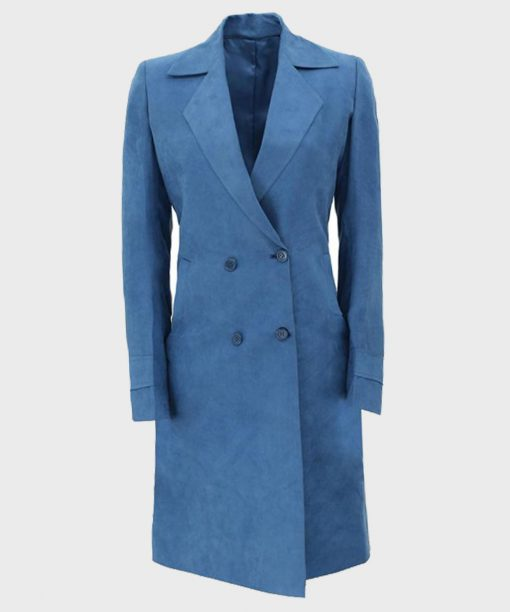 Womens Blue Long Double-Breasted Winter Coat