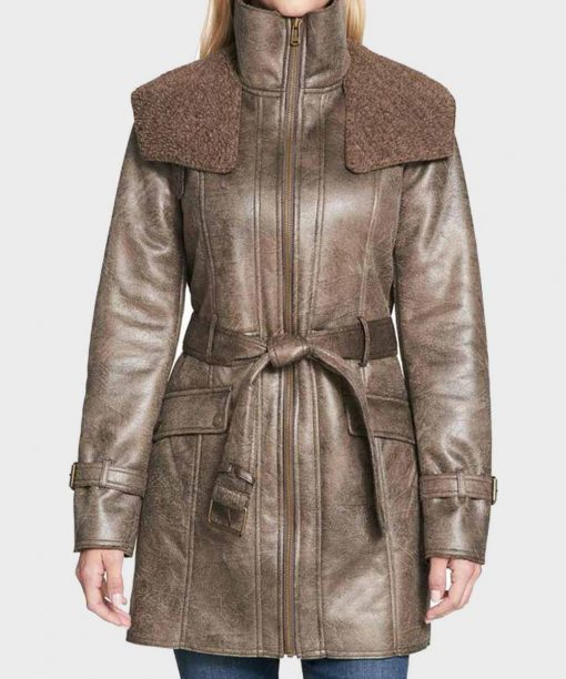 Womens Duster Mid-Length Faux Shearling Coat