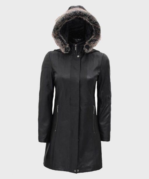 Women's Black Leather Faux Fur Hooded Coat