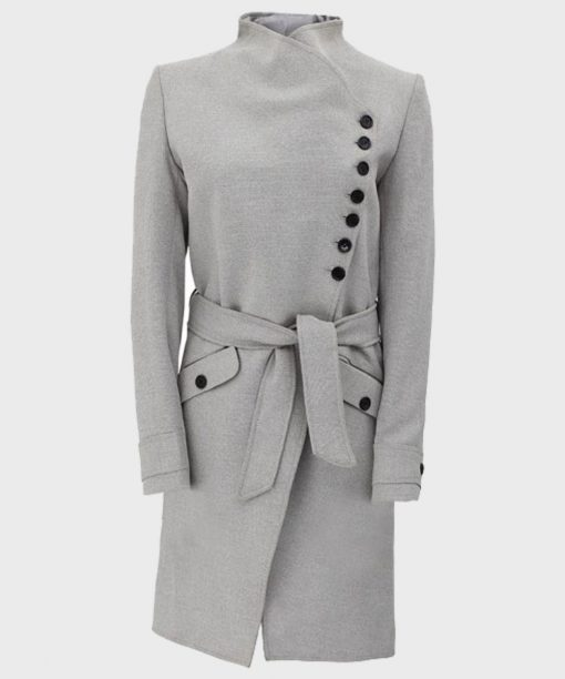 Womens Grey Wool Robe Coat