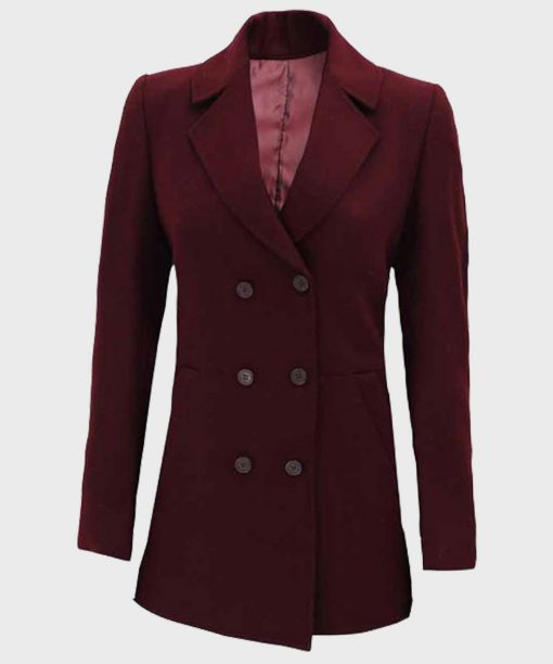 Womens Double-Breasted Maroon Coat