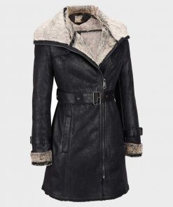 Womens Shearling Black Belted Mid-Length Coat