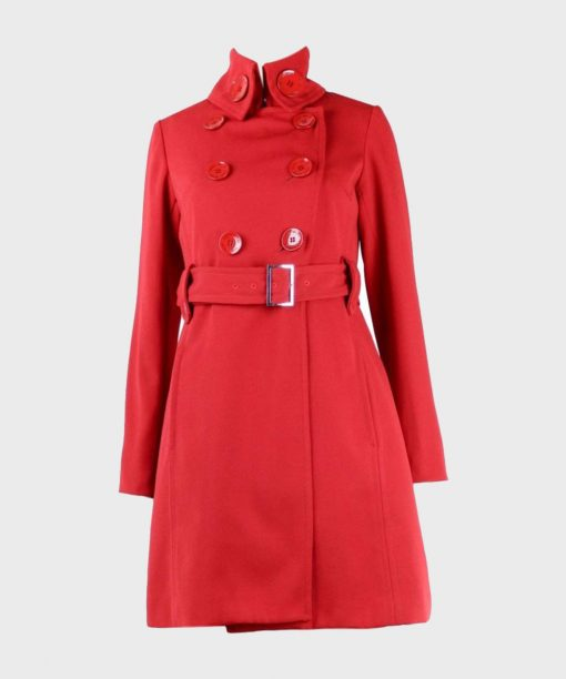 Womens Red Belted Double-Breasted Coat