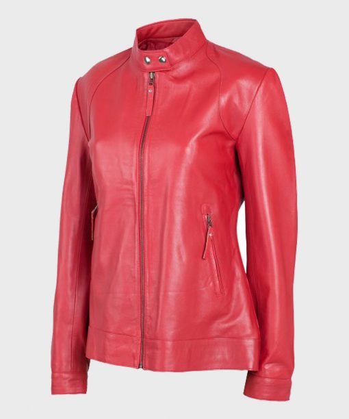 Womens Red Leather Jacket