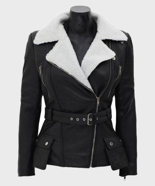 Black Biker Shearling Jacket for Womens