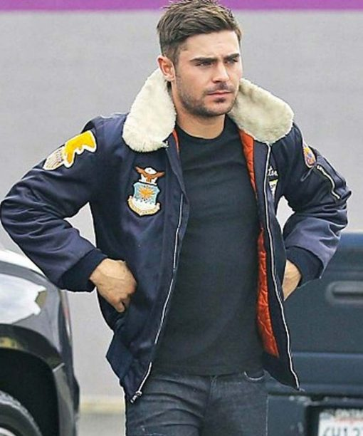 Zac Efron Navy Blue Bomber Jacket