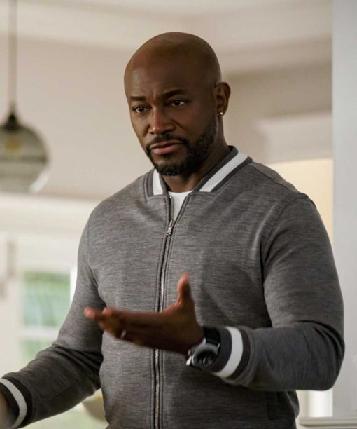 Taye Diggs All American Grey Bomber Jacket