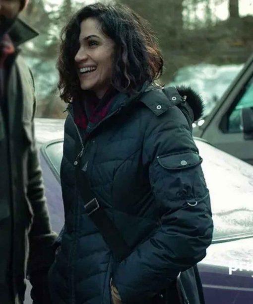 American Gods S03 Emily Browning Black Puffer Coat