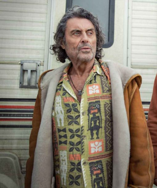 Ian McShane American Gods S03 Brown Leather Jacket