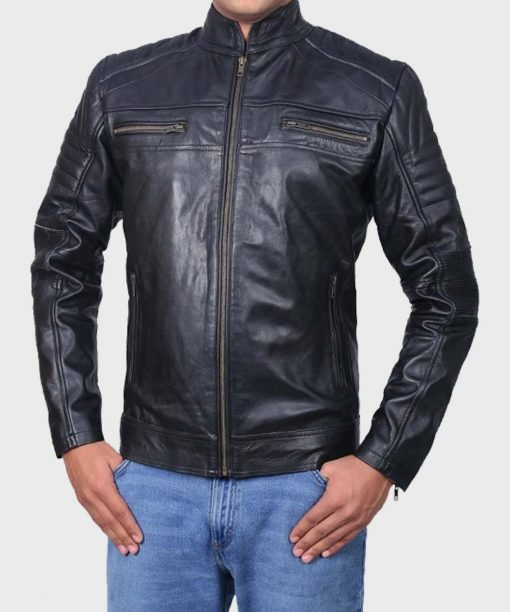 Mens Cafe Racer Black Classic Biker Jacket