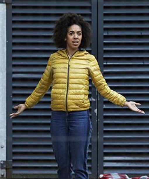 Pearl Mackie Doctor Who Yellow Puffer Jacket