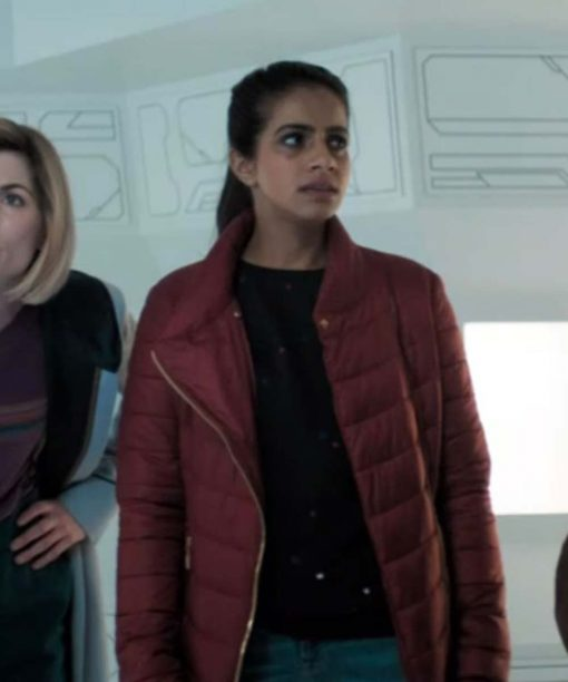 Doctor Who Mandip Gill Maroon Puffer Jacket