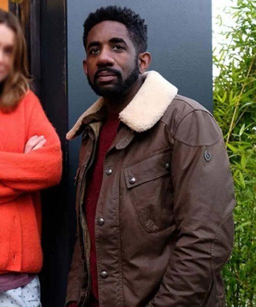Finding Alice 2021 Rhashan Stone Shearling Collar Jacket