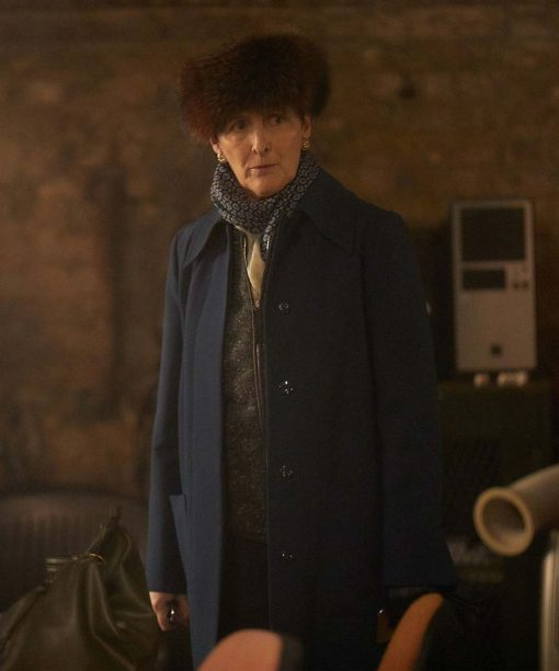 Fiona Shaw Killing Eve Blue Coat