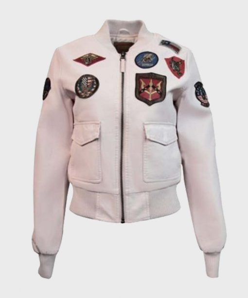 Light Pink Womens Top Gun Vegan Leather Bomber Jacket