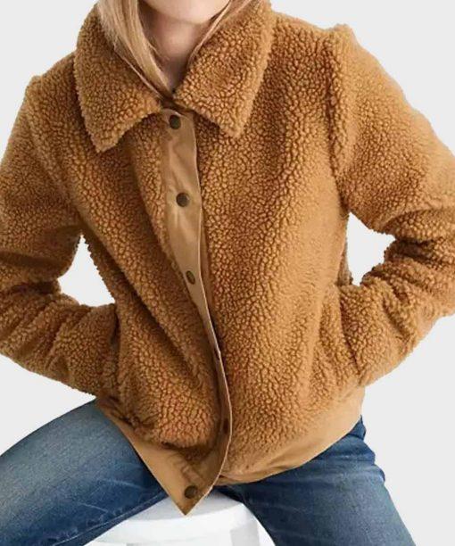 Love Life Anna Kendrick Brown Sherpa Jacket