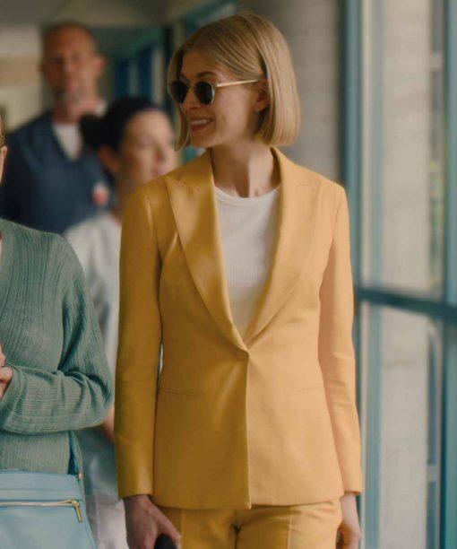 Rosamund Pike Yellow Coat