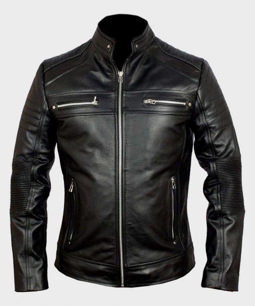 Mens Biker Leather Cafe Racer Black Jacket