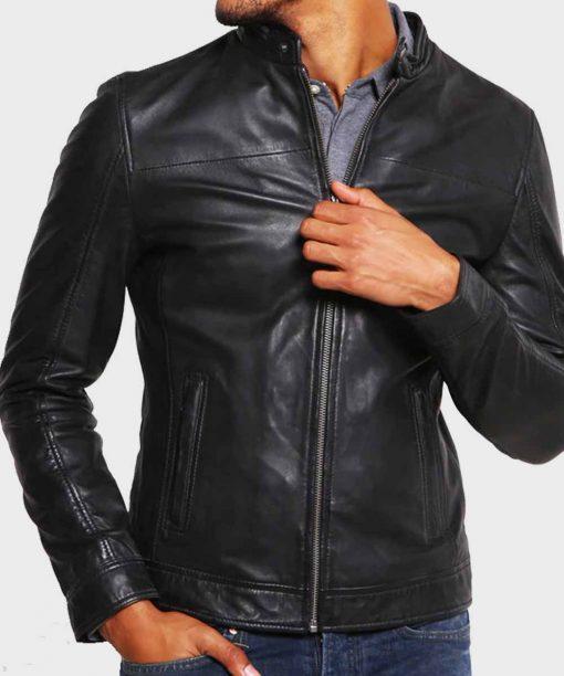 Mens Cafe Racer Black Leather Jacket
