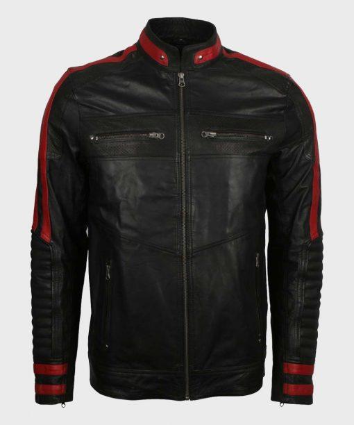 Mens Cafe Racer Leather Red & Black Jacket