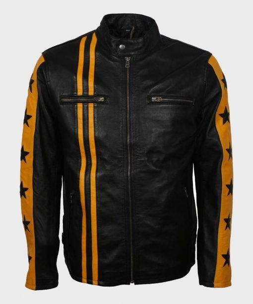 Mens Black Cafe Racer Yellow Stripes Jacket
