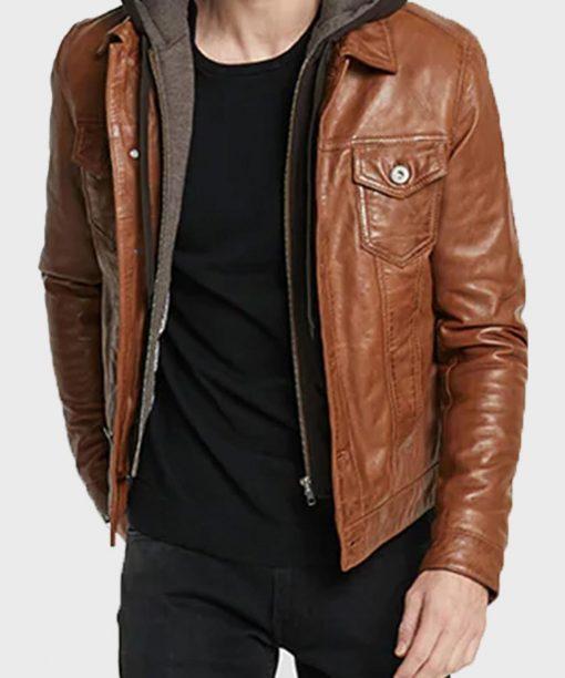 Casual Brown Mens Biker Jacket