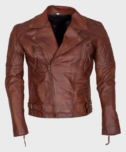 Mens Distressed Leather Motorcycle Brown Jacket