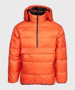 Mens Orange Puffer Hooded Jacket