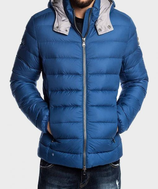 Mens Blue Stylish Puffer Jacket with Hood