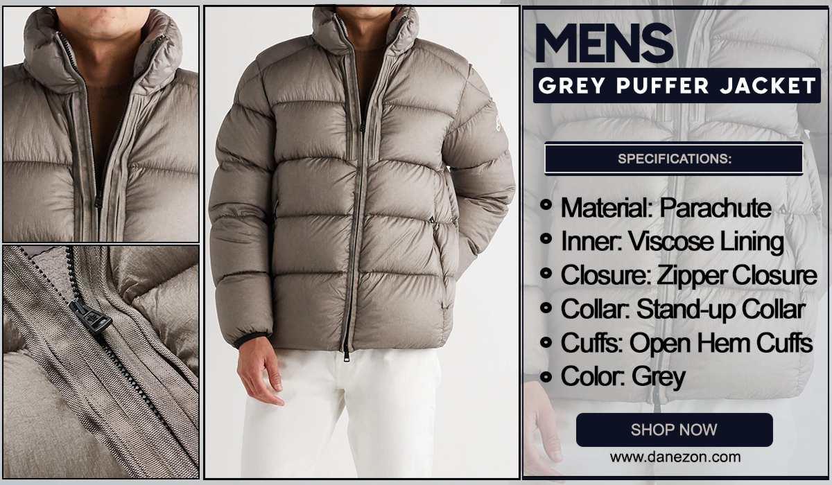 Mens Grey Puffer Jacket