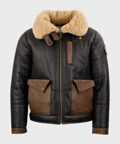 Mens B3 Black Sheepskin bomber Leather Jacket