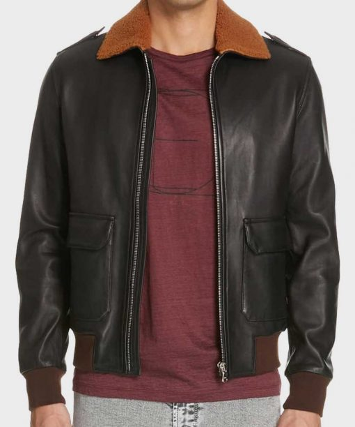 Mens Classic Black Bomber Leather Shearling Jacket