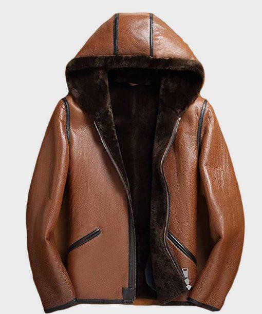 Mens Sheepskin Brown Hooded Shearling Leather Jacket