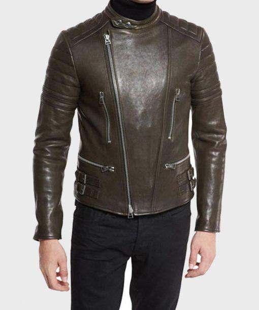 Brown Cafe Racer Mens Quilted Biker Leather Jacket