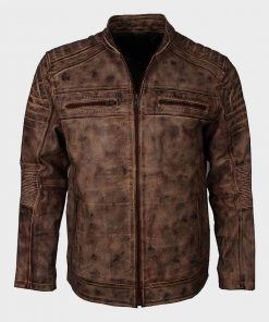 Distressed Brown Cafe Racer Waxed Leather Jacket for Mens