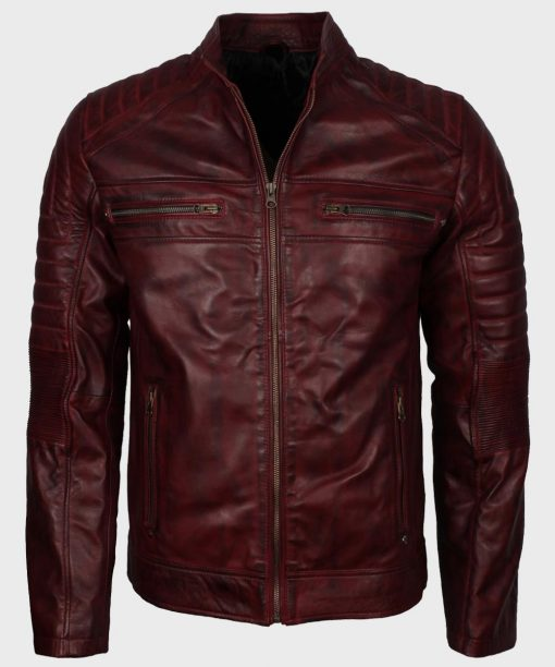 Maroon Cafe Racer Mens Vintage Waxed Leather Jacket