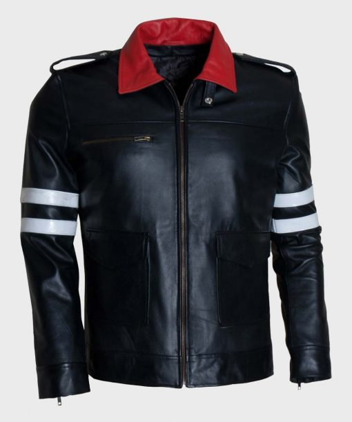 Mens Black Prototype Biker Leather Jacket