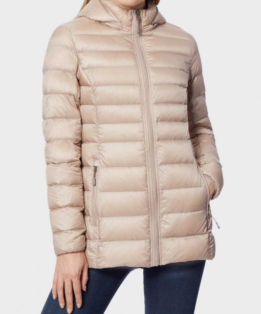 Womens Down Hooded Puffer Winter Jacket
