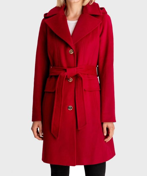 Red Hooded Womens Belted Coat