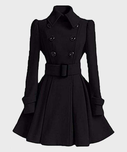 Womens Stylish Winter Swing Black Pea Coat