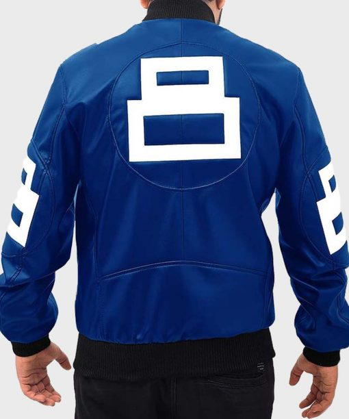 8 Ball Bomber Leather Blue Jacket