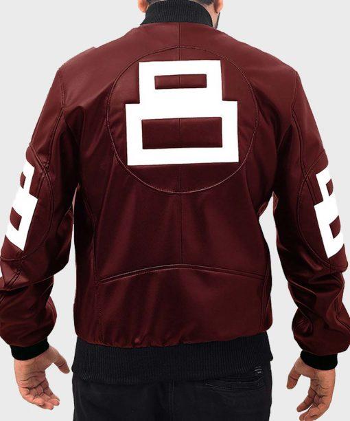 8 Ball David Puddy Maroon Bomber Leather Jacket